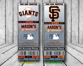 San Francisco Giants Invitation, San Francisco Giants Birthday Invitation, Baseball Invitation, SF Giants Team Invites