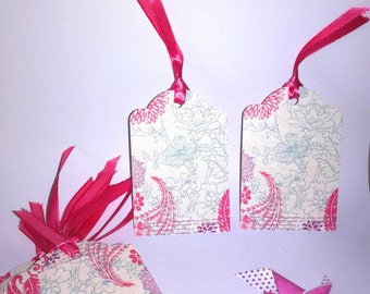 Each gift tag (set of 10) - neutral - Fleuries pink and blue