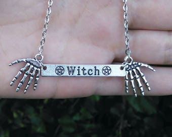 Goth necklace, witch, Pentagram, skeleton, Gothic necklace, metal, wicked, pagan, wicca, style, wiccan, goth necklace,