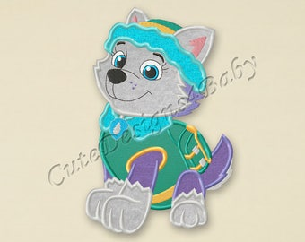 Paw Patrol Everest applique embroidery design, Paw Patrol Machine Embroidery Designs, Embroidery designs for baby, Instant download #058