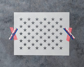 50 Stars Stencil - Reusable DIY Craft Stencils of 50 US American Flag Stars