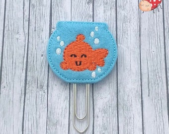 Goldfish bowl planner clip, paperclip, planner, paperwork, embroidered, felt paper clip, office supplies, study, organiser supplies, gift