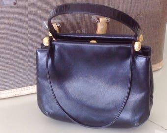 Vintage MM Morris Moskowitz Black Leather Handbag