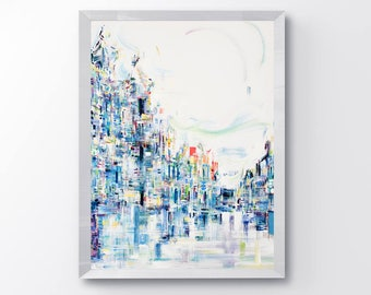 Abstract cityscape, Ethereal, abstract art print, modern art, wall art, fine art prints, art print, abstract painting, contemporary