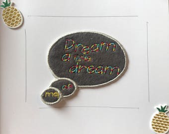 dream a little dream of me, Speech bubble quote,  thought bubble, Rainbow speech patch, comic quote, rainbow,   iron on quote patch,  sew on
