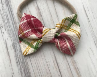 Christmas plaid bow- headband or hair clip- bow or bow tie - red green ivory