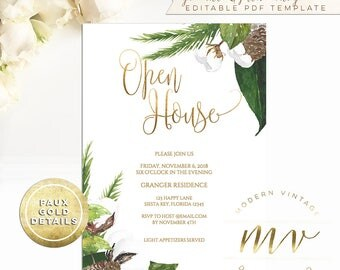 Open house invite etsy open house invitation template 5x7 editable printable invite gold calligraphy fall winter watercolor stopboris Images