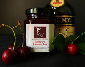 Cherry jam, brandied cherry, brandy, gift for him, gift for her, foodie gift, hostess gift, holiday gift, stocking stuffer, homemade jam