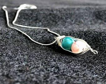 Pea Pod Herringbone Necklace-Gender Stones