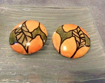 Vintage 1970's Hand Painted Wood Clip on Earrings