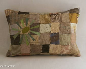 Designer throw pillow, silk pillow, quilted pillow cover, repurposed silk patchwork pillow cover, boho pillow, shabby chic pillow