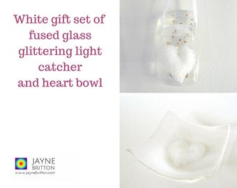 White heart fused glass gift set - glittering light catcher, suncatcher, sun catcher, present, blue decor, present, trinket bowl