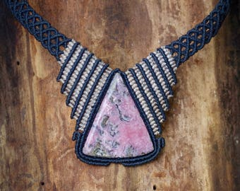 Necklace - Short Necklace with Rhodochrosite