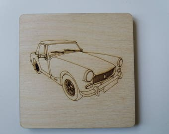 MG Midget (round wheel arch) Coaster - Etched wood