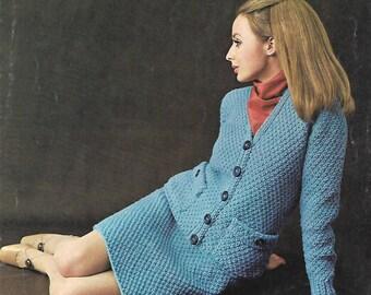 knitting pattern, women's, ladies suit, sizes 32-40 in, pdf, digital download, instant download