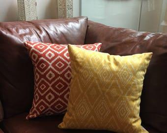Handmade cushion in yellow and ivory geometric diamond print with cushion pad included