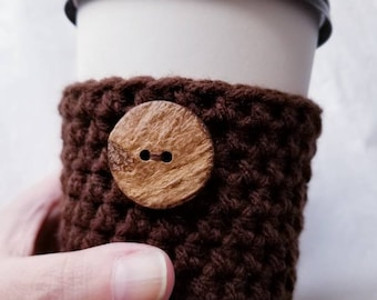 Dark Chocolate Crochet Cup Sleeve - Polished Raw Wood Button Neutrals Everyday Cup Sleeve