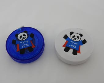 "HiyaHiya Retractable Measuring Tape Blue or White with Panda Design 60"" 150cm"