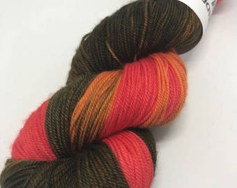 Hand Dyed Yarn Sock Weight Oddball 100g Hank 80/20% Superwash Merino/Nylon 300m Self Striping Olive Coral Mulesing Free