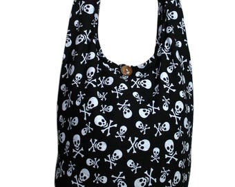 Skull Black Handmade Hippie bag Crossbody Bag Shoulder Sling Bag Messenger Bag Boho bag Purse