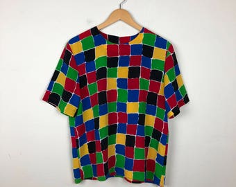 80s Primary Color Top Size Large, Primary Shirt