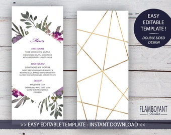 MUTED FLORAL Suite - Menu - Editable Template - Faded Florals & Gold-Effect Geometric Design - Printable - Instant Download