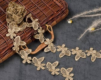 1 Yard Hollow Gold Embroidery Lace Trim DIY Handmade Clothing   Accessories, WL635