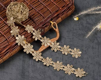 1 yard Water soluble lace embroidery lace dress gold handmade DIY   dress headdress clothing accessories, WL633