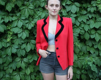 "Vintage Jacqueline Ferrar ""Clueless"" Style Blazer With Velvet Lined Lapels And Buttons"
