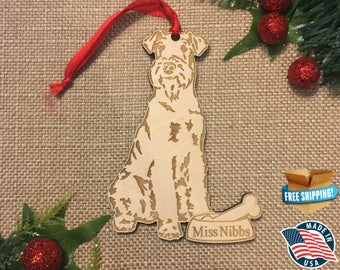 Airedale Terrier Christmas Ornament *** Personalized Dog Ornament  ***Dog Lover Gift *** Christmas Holiday Ornament ***