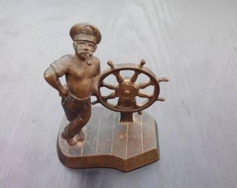 Vintage Bronze Figure Sailor Shellback. Figurine Sailor  sea dog with the wheel Nautical decor