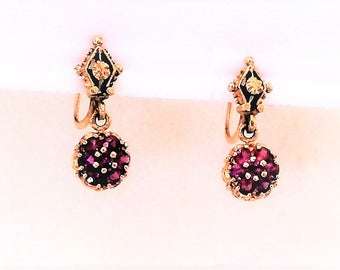 "Estate 14k Yellow Gold Genuine Ruby Clip On Clipon Earrings 3/4"" Long 3.6g Marked 14 K kt 14kt Vintage Gemstone Round Dangle Drop Screw Back"