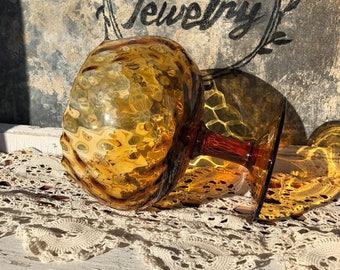 Vintage Amber Glass Goblet on Pedestal Made in Italy