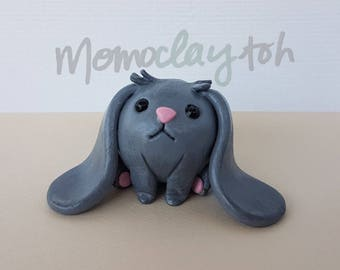 Handmade polymer clay adorable sitting Bunny figure