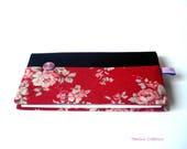 Porte Chéquier porte carte portefeuille en tissu japonais fleuri Romantique2