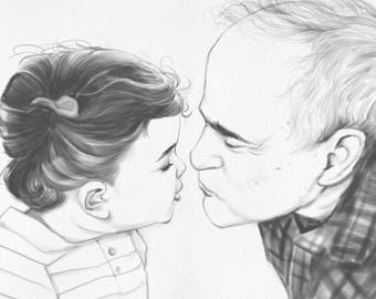 Personalized Father Daughter Gift, Father and Son Custom Portrait, Unique Father's Day Gift, Gift for Grandfather, Custom Drawing from Photo