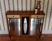 RARE 1950s Retro Teak Cocktail Display Cabinet