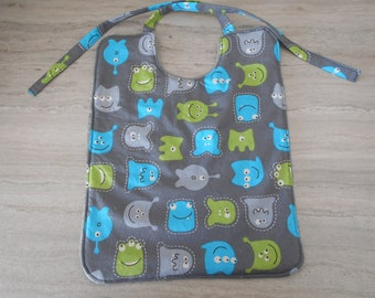 Cotton Baby bib small Monster gray background and gray bamboo Terry