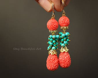 Coral Turquoise Earrings Teardrop Earrings Summer Jewelry Gold Plated Details Blue and Pink Earrings Gemstone Jewelry