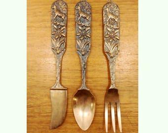 Vintage Brass Serving Utensils Set Woodland Deer Design