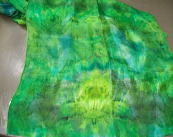 silk scarf handpainted green 180 cm x 45 cm