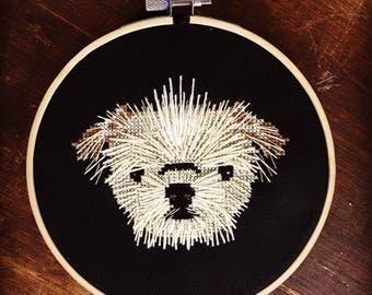Custom Embroidered Dog Portrait
