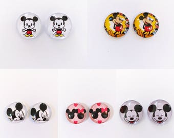 The 'Mickey Mouse' Glass Earring Studs