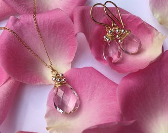 Rock Quartz Necklace in 14k Gold Fill (Earrings & Gift Set also available)