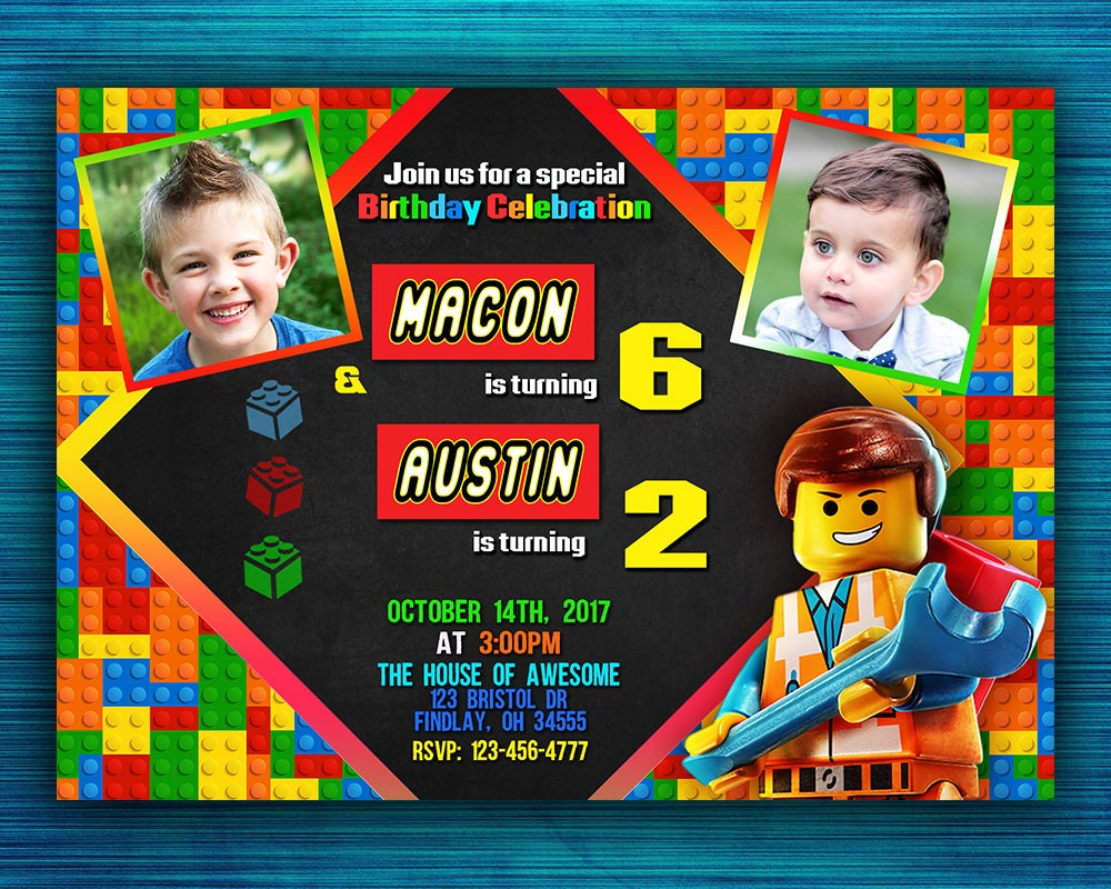double birthday party invitation lego birthday invitation sibling