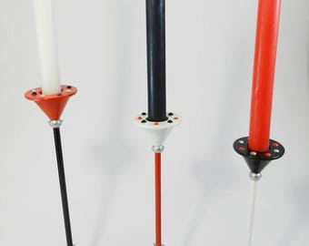 candle holder trio, red, black and white hand made wrought iron