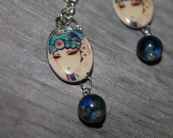 Geisha - Earrings oval silver color metal
