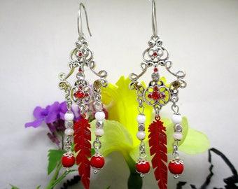 Beautiful jade stone chandelier earring.