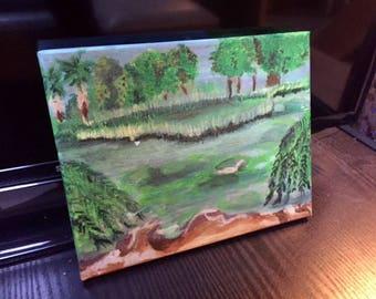 The Pond / Original Art / Wall Art / Acrylic Painting / 10x8