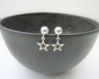 Sterling silver star earrings, tiny star earrings, celestial earrings, moon and star earrings, star jewellery, star jewelry, girl earrings